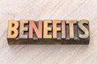 benefits word abstract in wood type