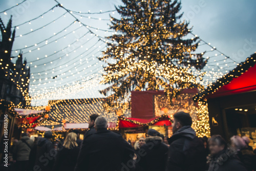 Christmas market stalls and shopping in