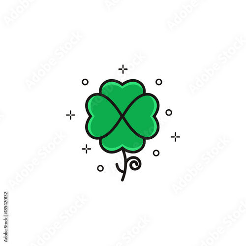 Shamrock Flat Color Line Icon Isolated Trefoil Thin Linear Design