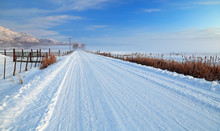 Winter Snowy Road In Rural Uta...