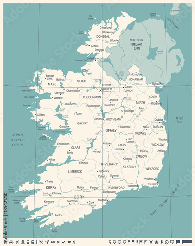 Photo  Ireland Map - Vintage Detailed Vector Illustration