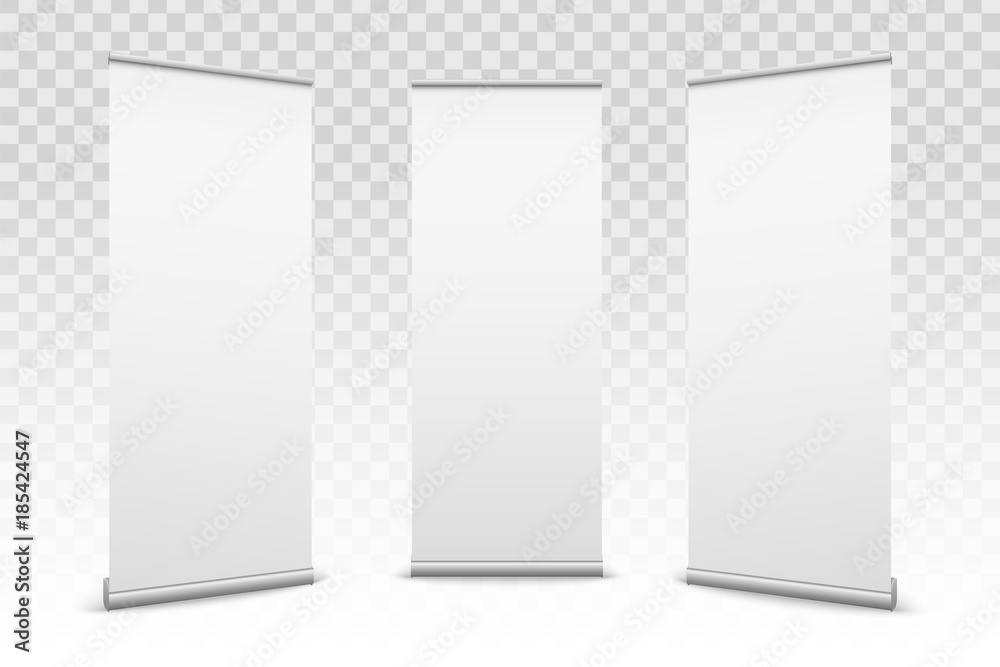 Fototapety, obrazy: Creative vector illustration of empty roll up banners with paper canvas texture isolated on transparent background. Art design blank template mockup. Concept graphic promotional presentation element