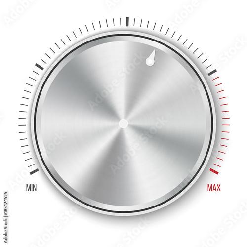 Creative vector illustration of dial knob level technology settings