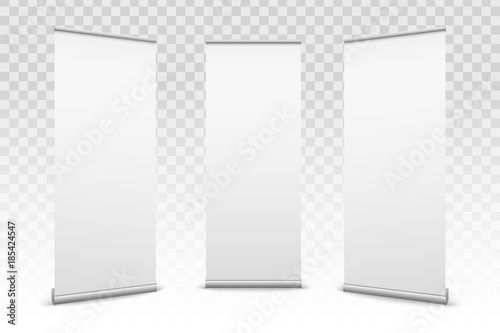 Creative vector illustration of empty roll up banners with paper canvas texture isolated on transparent background Wallpaper Mural