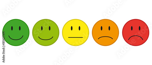 Fotografie, Obraz  Color Faces For Feedback Or Mood - 5 Vector Icons
