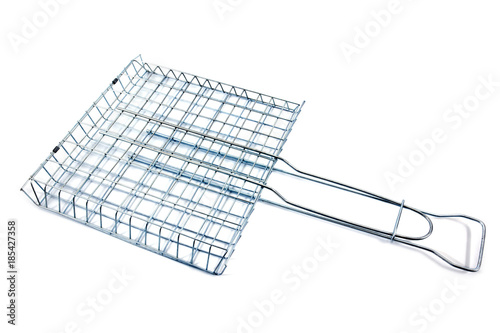 Grill grate isolated on white background.Metal grill grid isolated