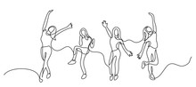 Continuous Line Drawing Of Happy Cheering Team Of Girls
