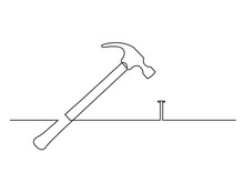 One Line Drawing Of Isolated Vector Object - Hammer And Nail