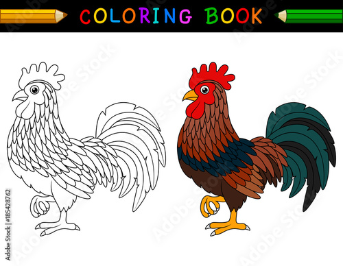 Cartoon rooster coloring book Canvas Print