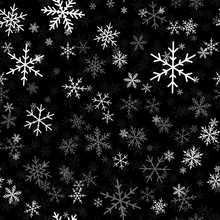 White Snowflakes Seamless Pattern On Black Christmas Background. Chaotic Scattered White Snowflakes. Sublime Christmas Creative Pattern. Vector Illustration.