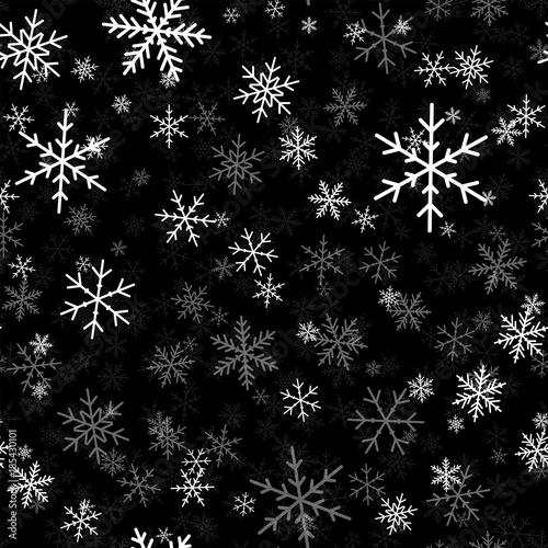 Stoffe zum Nähen Weiße Schneeflocken nahtlose Muster auf schwarzem Hintergrund Weihnachten. Chaotisch verstreut Weiße Schneeflocken. Erhabene Weihnachten kreative Muster. Vektor-Illustration.