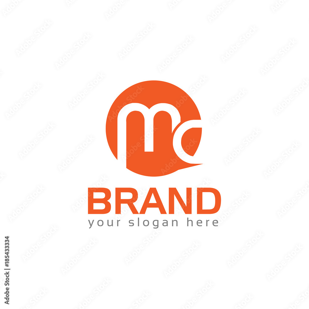 Fototapeta Letter MC, MC letter logo. Flat logo design.