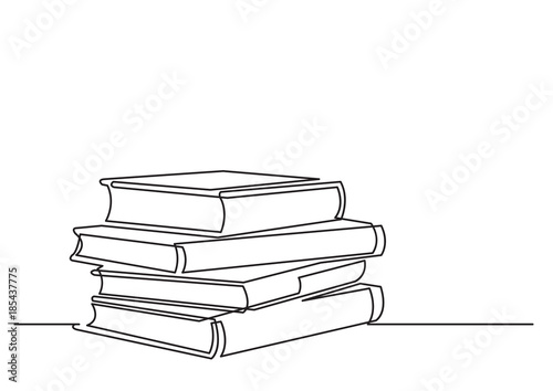 Valokuvatapetti one line drawing of isolated vector object - pile of books