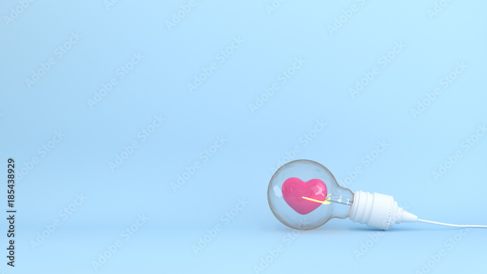 Fototapety, obrazy: Heart with light bulb together on the blue background colorful 3D Illustration for copy space minimal object  pastel colorful concept 3D rendering background of Iove and background Valentine's Day