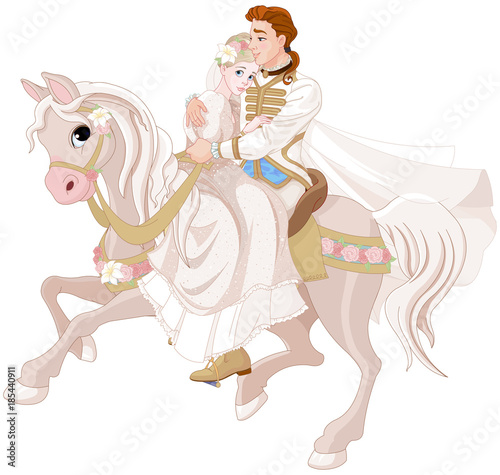 Canvas Prints Fairytale World Cinderella and Prince Riding a Horse after wedding