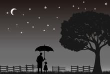 A Man And A Child Under The Tree