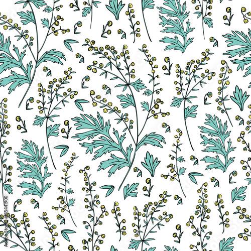 Seamless Floral Vector Pattern Artemisia Vulgaris Wormwood