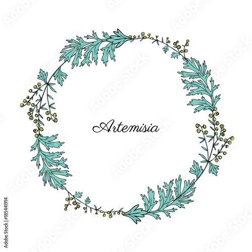 Photo Round frame with Artemisia vulgaris, wreath common wormwood hand drawn vector il