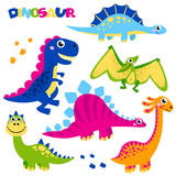 Fototapeta Dinusie - Set of cute vector dinosaurs isolated on white background. Cartoon dinosaurs, monster animal, dino,  prehistoric character. Vector illustration