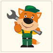 Funny fox in wearing overalls with the large wrench on her shoulder. Mechanic fox in cartoon style shows like.