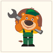 Funny lion in wearing overalls with the large wrench on her shoulder. Mechanic lion in cartoon style shows like.