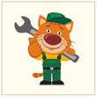 Funny kitten cat in wearing overalls with the large wrench on her shoulder. Mechanic kitten cat in cartoon style shows like.