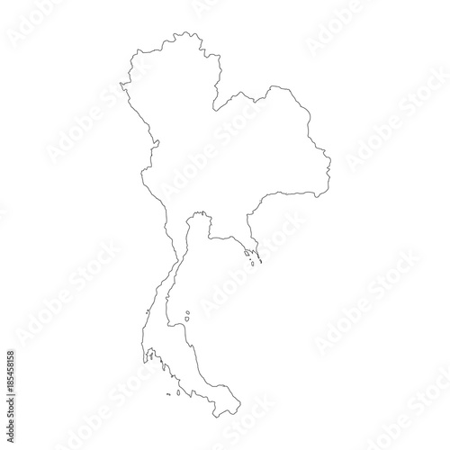 Vector map Thailand. Isolated vector Illustration. Black on White ...