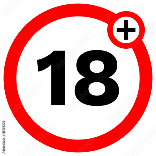 UNDER EIGHTEN prohibition sign in red circle. Vector icon. Poster