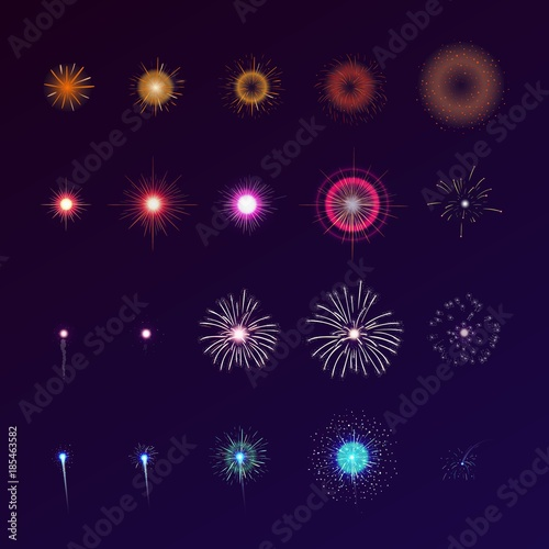 Fotografija  Set of fireworks bursting in sky