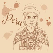 Peruvian Girl Retro Style Trav...