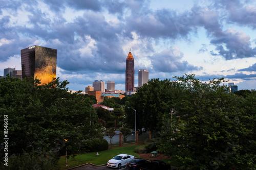 Plakat Środek miasta w Atlanta, usa przy wschodem słońca