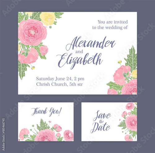 set of wedding invitation save the date card and thank you note