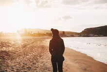 Girl Walking On The Beach At Sunset - Winter Season - Story Telling Sequence
