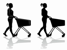 Silhouette Of A Shopping Woman...