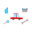 vector flat car service, maintenance icons set. Цrench, car battery, magnifying glass, engine oil canister and sedan red car . Isolated illustration on a white background