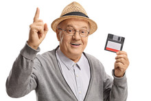 Mature Man With A Floppy Disk ...