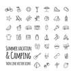 Summer vacation and camping vector icons set