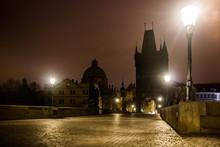 Charles Bridge In Prague With Lanterns At Night