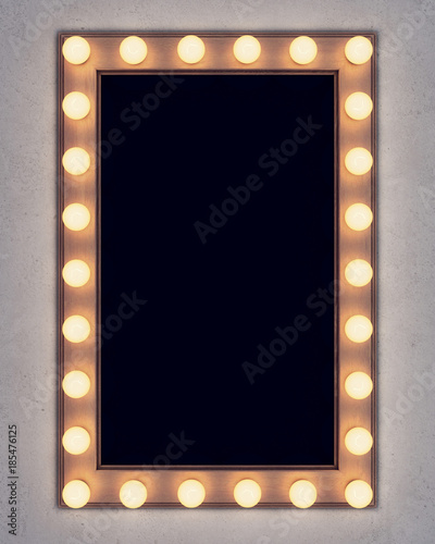 Fotomural Wooden retro make-up mirror on concrete wall. 3D rendering