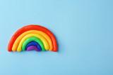 Fototapeta Tęcza - Plasticine rainbow on color background