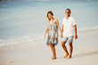 Smiling Couple Walking on Beach on Vacation