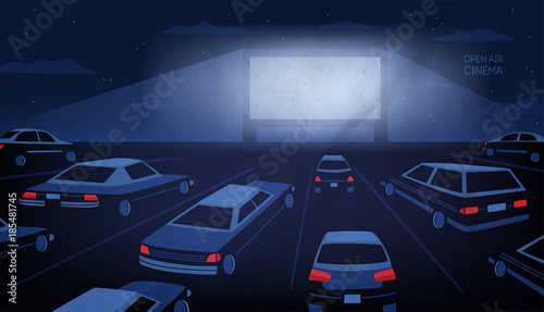 Fotografie, Obraz  Open air, outdoor or drive-in cinema theater at night