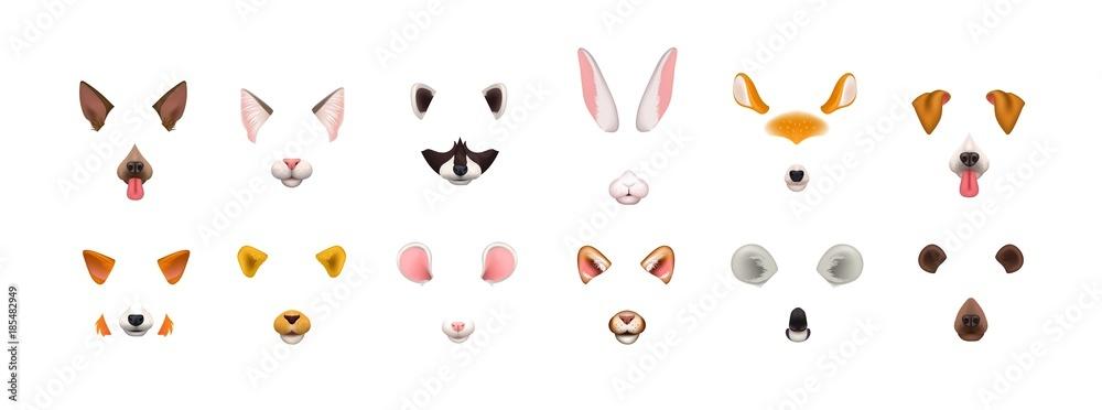 Fototapeta Collection of video chat application effects. Bundle of cute and funny faces or masks of various animals - dog, cat, fox, raccoon, rabbit, koala, bear, mouse, deer. Colorful vector illustration.