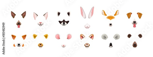 Obraz Collection of video chat application effects. Bundle of cute and funny faces or masks of various animals - dog, cat, fox, raccoon, rabbit, koala, bear, mouse, deer. Colorful vector illustration. - fototapety do salonu