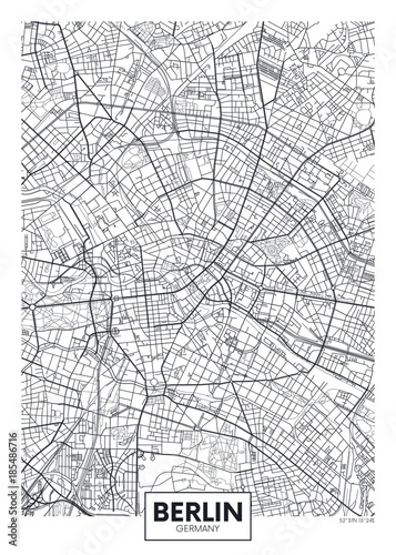 Fotografie, Obraz Detailed vector poster city map Berlin