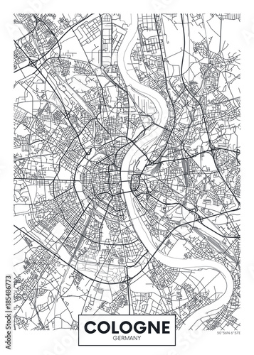 Detailed vector poster city map Cologne Canvas-taulu