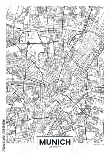 Fotografie, Obraz Detailed vector poster city map Munich