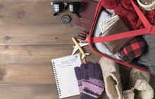 Prepare Accessories And Travel Items For Winter Trip