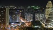 Timelapse.Beijing Downtown Night Scene with Highrise Buildings and Traffic Flow,China