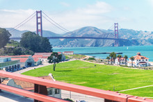Beautiful View Of San Francisco Golden Gate Bridge And City Coastline